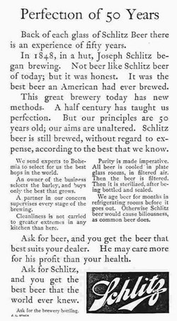 Hopkins' Schlitz Beer Ad